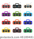 Colorful cartoon boombox collection 46189481