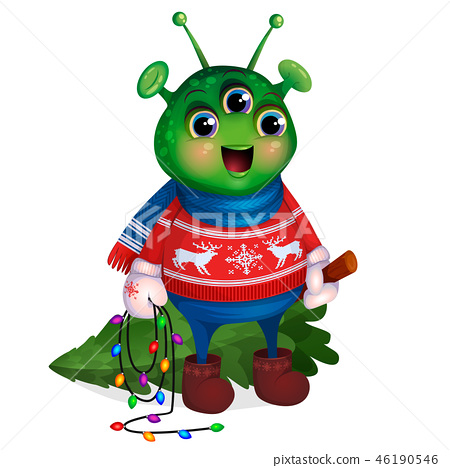 Alien in sweater holding Christmas tree. New Year. 46190546