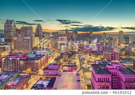 Detroit, Michigan, USA Downtown Skyline at Dusk 46191012