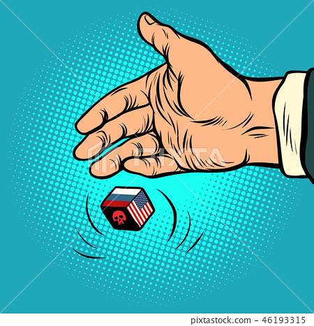 Politics russia and usa confrontation  hand throws dice