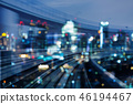 Train track motion blue over night blur city light 46194467
