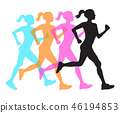 four silhouette of running women profile black, orange pink and blue overlay, fitness concept 46194853