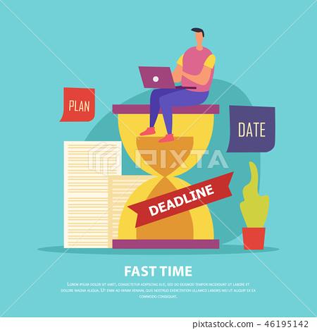 Fast Time Deadline Flat Illustration 46195142