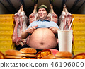 Happy fat man and fast food, overweight people 46196000