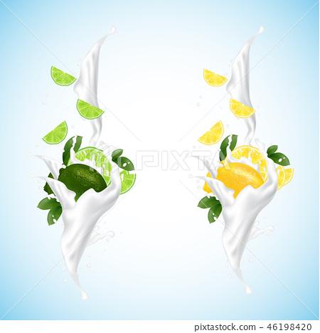 Lemon and lime splashing set with milk, yogurt  46198420