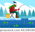 Fisherman catches fish in the winter on the rod. 46198588