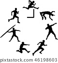 Heptathlete silhouette in a circle 46198603