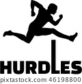 Hurdles with man silhouette 46198800