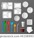 Plastic tableware vector picnic disposable cutlery spoon fork plate takeaway food containers and 46198993