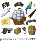 Piratic vector pirating sailboat parrot character of pirot or buccaneer illustration set of piracy 46198995