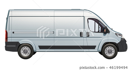 Commercial delivery van, side view. 3D rendering 46199494