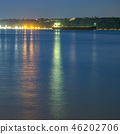 Boat lights reflected on ocean in Tacoma at sunset 46202706