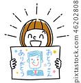 插圖素材:顯示父親諷刺漫畫的女孩 46202808