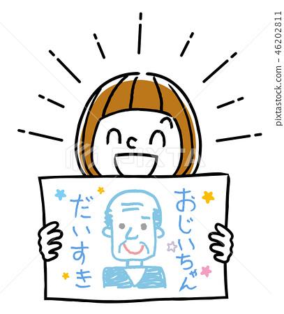 插圖素材:顯示爺爺的肖像的女孩 46202811