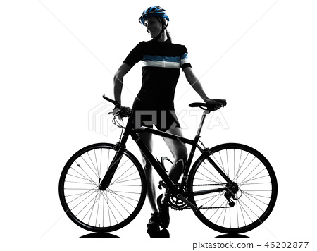 cyclist cycling riding bicycle woman isolated silhouette 46202877