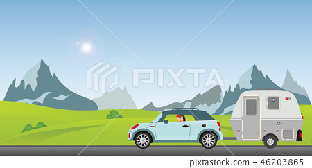 Happy couple driving car on road on a sunny spring 46203865
