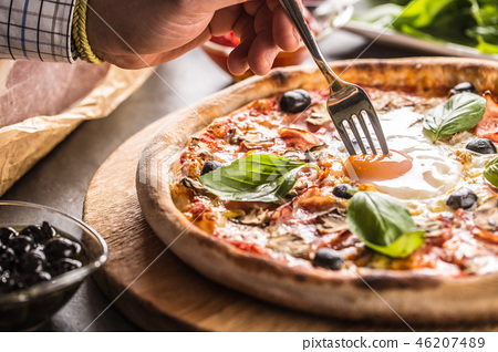 Pizza capricciosa traditional italian meal 46207489