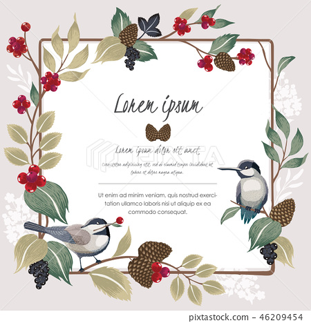 Vector illustration of floral frame with birds 46209454