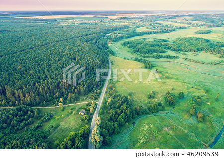 Aerial drone view of countryside, rural landscape 46209539