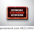 Vector retro signboard or lightbox illustration with customizable design on clean background. Light 46211002