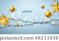 Christmas Illustration with Glowing Colorful Lights Garland for Xmas Holiday and Happy New Year 46211036