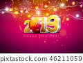 2019 Happy New Year illustration with 3d gold number, disco ball and lights garland on violet 46211059