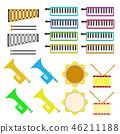 圖標材料木琴鐵筷子鈴鼓小號口琴顏色彩色插圖圖標 46211188
