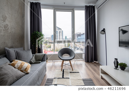Great interior in modern style with concrete and white walls 46211696