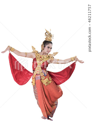 woman wearing typical thai dress with thai style 46211757