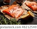 salmon, lemon, rosemary 46212540