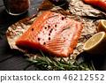 salmon, lemon, rosemary 46212552