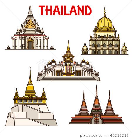 Bangkok travel landmarks icons. Thailand temples 46213215