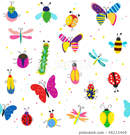 Bugs, butterflies and other insects illustration 46213409