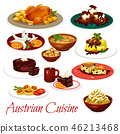Austrian cuisine meat dishes and chocolate cakes 46213468