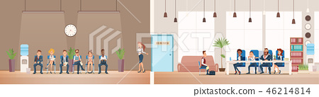 Job Interview and Recruiting. Vector Illustration. 46214814