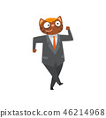 Funny businessman cat in a suit, humanized animal cartoon character at work vector Illustration 46214968
