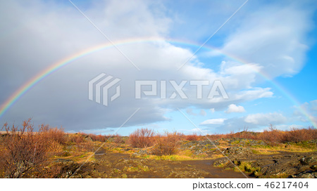 Rainbow background in Iceland 46217404
