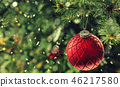 Christmas red luxury ball on tree branches. 46217580
