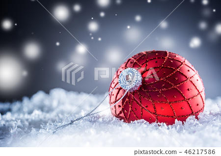 Christmas red Luxury ball in snow . 46217586