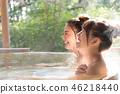 年輕的女人,女孩旅行,溫泉,露天浴,旅行 46218440