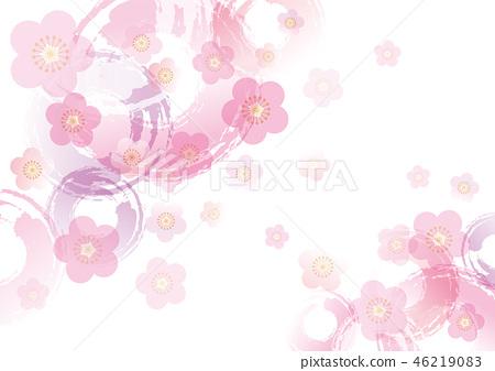 背景日本式李子開花樣式和圈子桃紅色 46219083