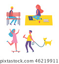 Man Walking Pet Dog Icons Vector Illustration 46219911
