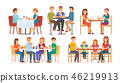 People Eating and Drinking Together Set Vector 46219913