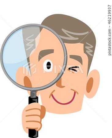 拿著放大鏡的老人年長人 46219937