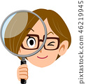 Woman OL Business Woman Glasses Holding a Magnifying Glass 46219945