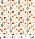 與葉子,心臟和雪花的無縫的樣式 46220969