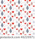 與葉子,心臟和雪花的無縫的樣式 46220971