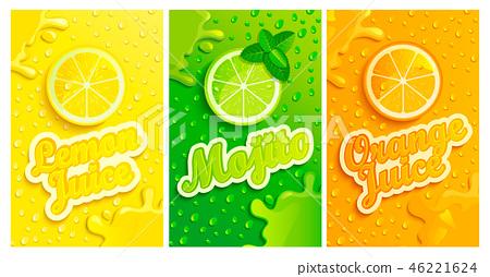 Set of fresh lemon,mojito,orange juices. 46221624