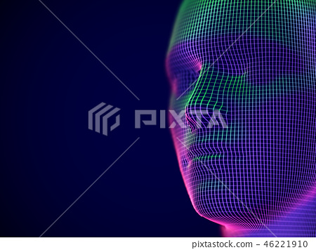 Virtual reality or cyberspace concept: wireframe of male face. 46221910