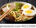 Udon soup with pork, eggs, shiitake and onions 46222686